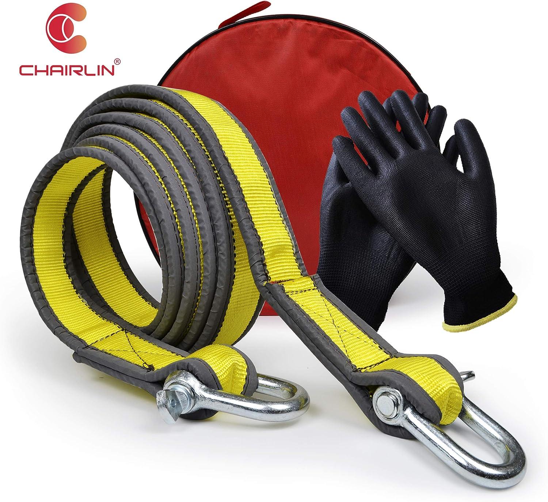 Chairlin Abschleppseil 5 Cm X 4 M Laborgetestet 9 Tonnen Bruchfestigkeit Strapazierfähige Tasche Mit Kordelzug Dreifach Verstärkte Schlaufenende Für Sicherheit Notfall Abschleppgurt Normal Auto