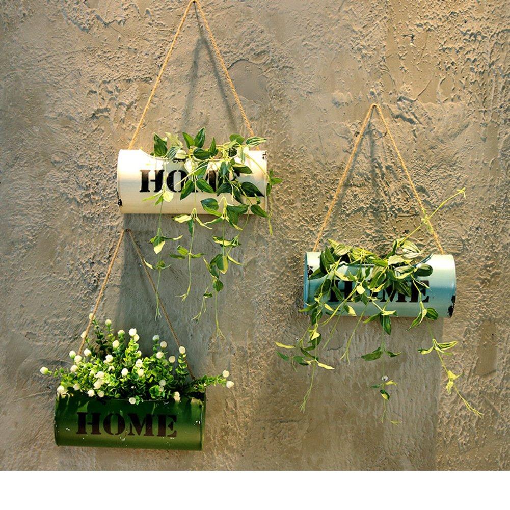 Vintage iron flower bracket balcony pendant flower basket tea shop cafe wall decoration-C by WYMHP