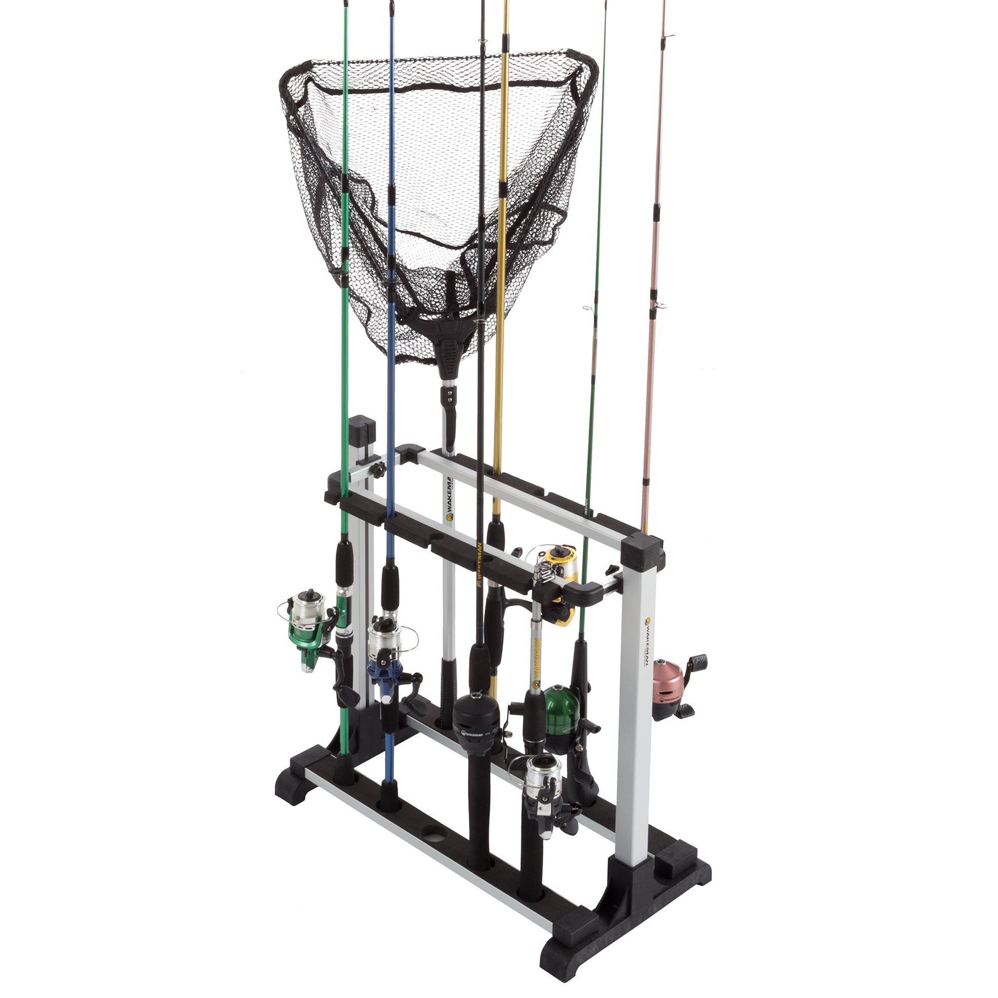 Wakeman Fishing Rod Rack- Aluminum Freestanding Floor Storage, Organizer Stand for Home or Garage, Fits 10 Freshwater or Saltwater Rods Outdoors
