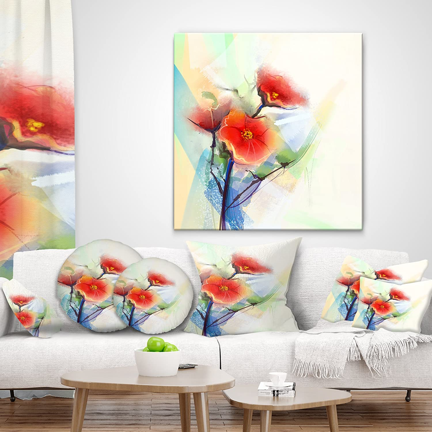 in x 16 in Insert Printed On Both Side Designart CU14094-16-16 Red Poppy Flowers on Grunge Back Floral Cushion Cover for Living Room Sofa Throw Pillow 16 in