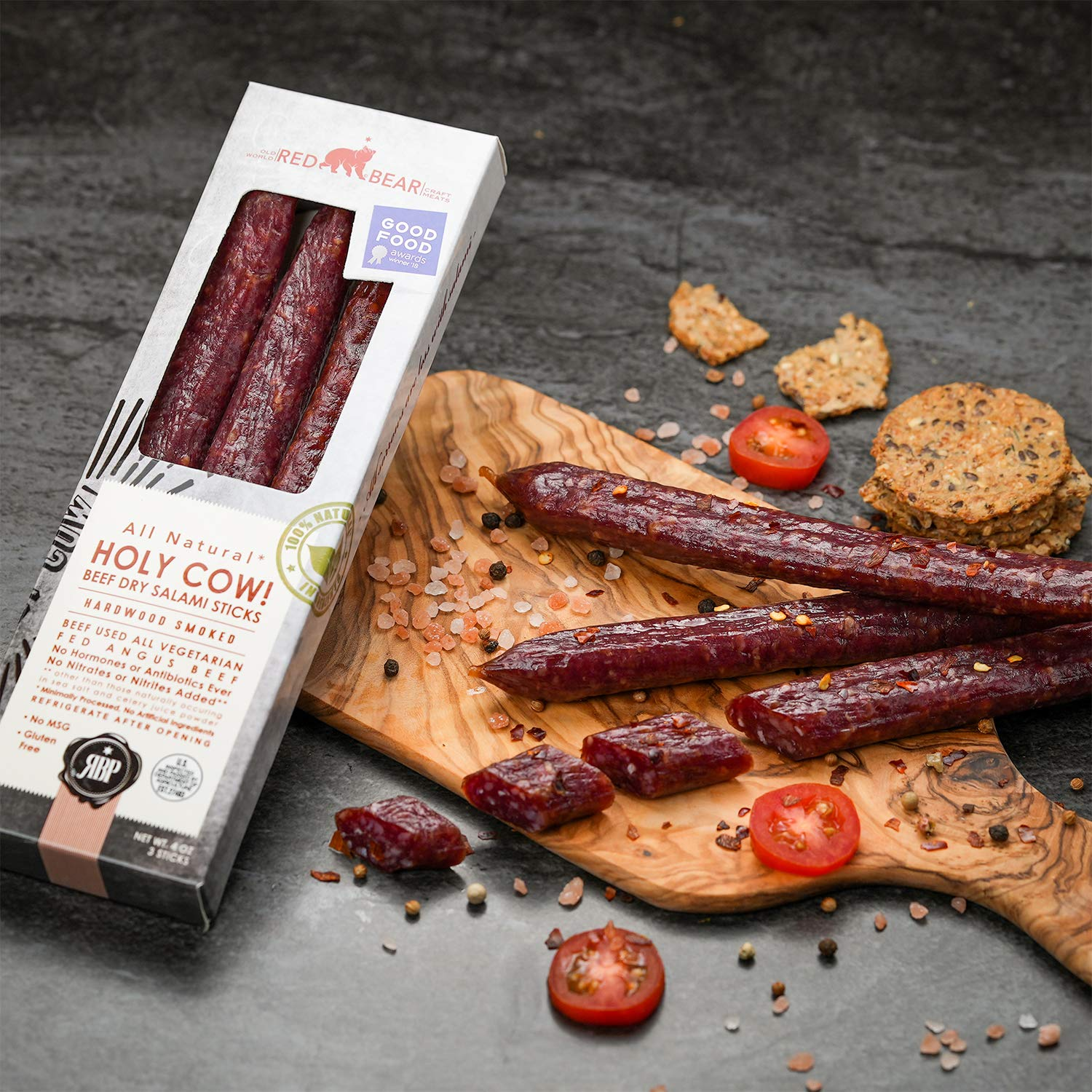 Holy Cow - Beef Jerky Keto Friendly Snacks – 4 oz – Premium All Natural Dry Salami Sticks - No MSG Gluten Free Low Carb Keto Diet Food – Made in the USA