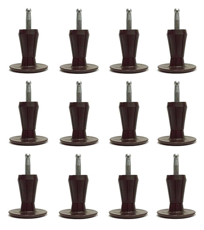 2-Piece Metal Stem Brown Bed Frame Glides/Feet/Legs w/Socket Sleeves (6)