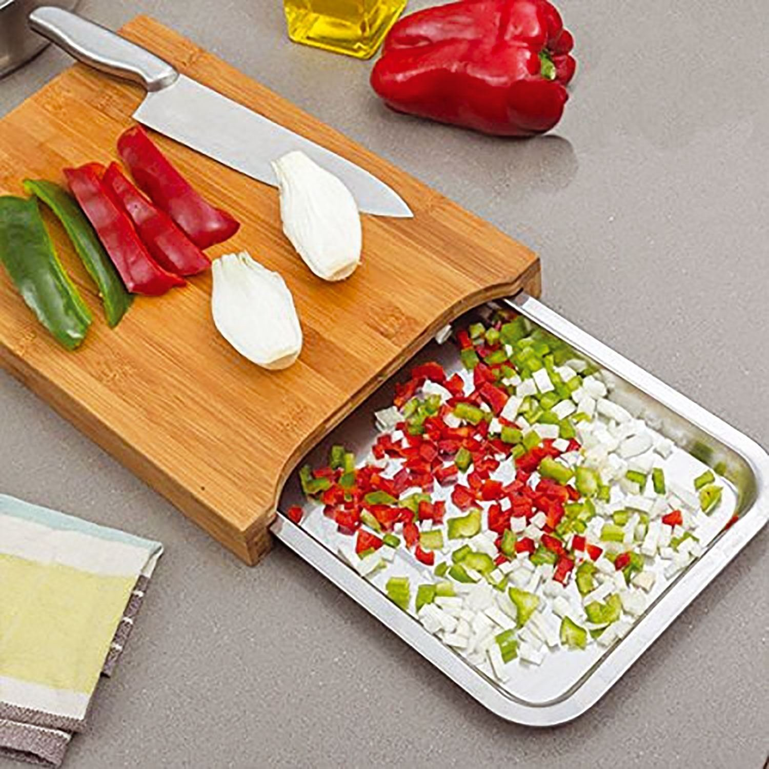 Top Home Solutions® Bamboo Wooden Chopping Board Cutting Slicing with Sliding Stainless Steel Tray