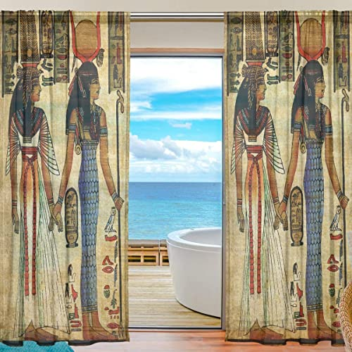 MNSRUU Egyptian Women Sheer Curtains 84 Inches Long