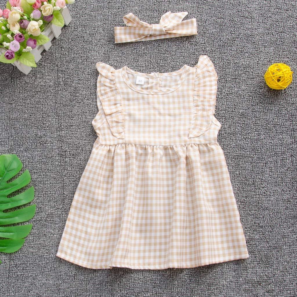 Hapae Newborn Baby Girls Cotton Dress Ruffle Plaid Romper Round Neck Pullover Casual Elegant Princess Dress+Headbound Kids Fashion Clothes