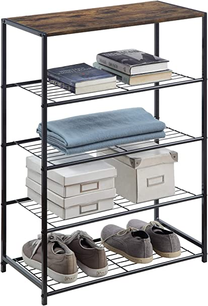 4 /& 5 Tier Extendable Metal Shoe Rack Space Saving Storage Organiser Shelf 3
