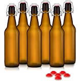 Swing Top Grolsch Glass Bottles 16oz - AMBER - For Brewing Kombucha Kefir Beer (6 Set) Bonus Gaskets