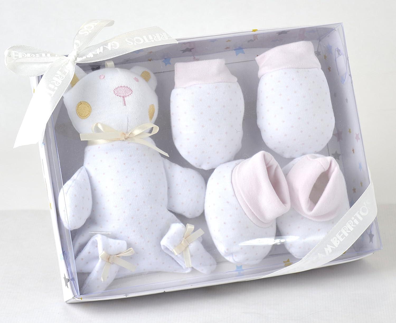 patucos peluche color rosa manoplas Gamberritos set regalo recien nacido
