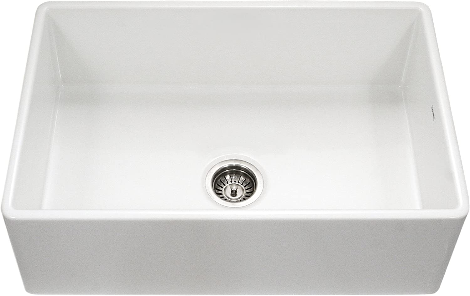 Houzer PTG-4300 WH Platus Series Apron-Front Fireclay Single Bowl Kitchen Sink, 33 , White