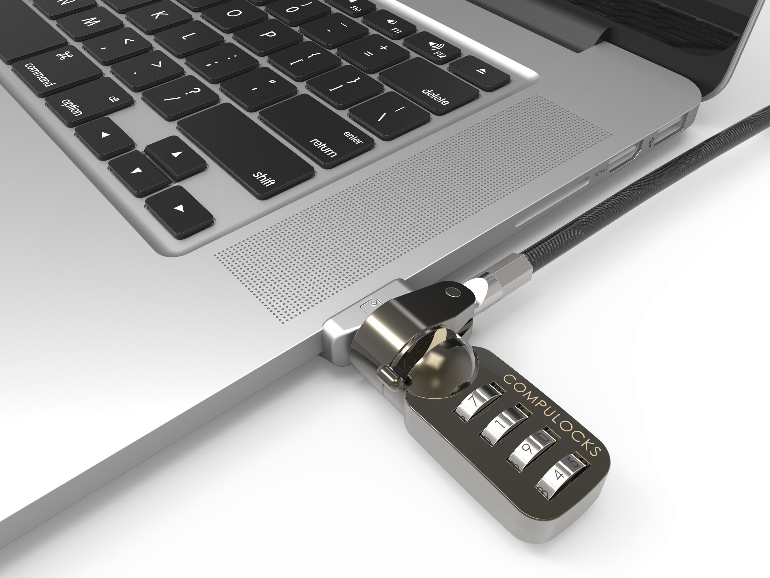 Maclocks MBALDGZ01CL Ledge Security Laptop Lock Slot Adapter with Combimation Lock for MacBook Air (Silver)