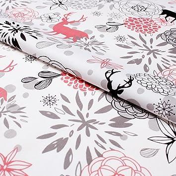 Hans Textil Shop Stoff Meterware Hirsch Blumen Pink Baumwolle