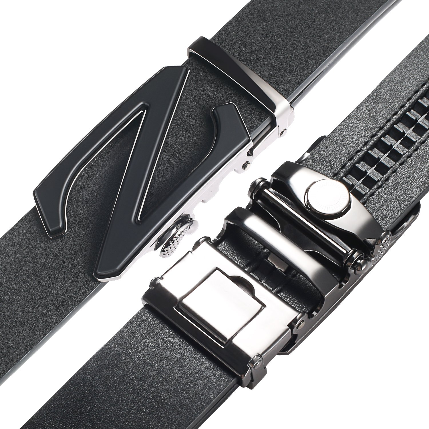 【New 2018 Version】28''-62'' Z Belts Black Leather Belts for Men with Removable Buckle Automatic Ratchet Belt by WAYMO (Image #3)