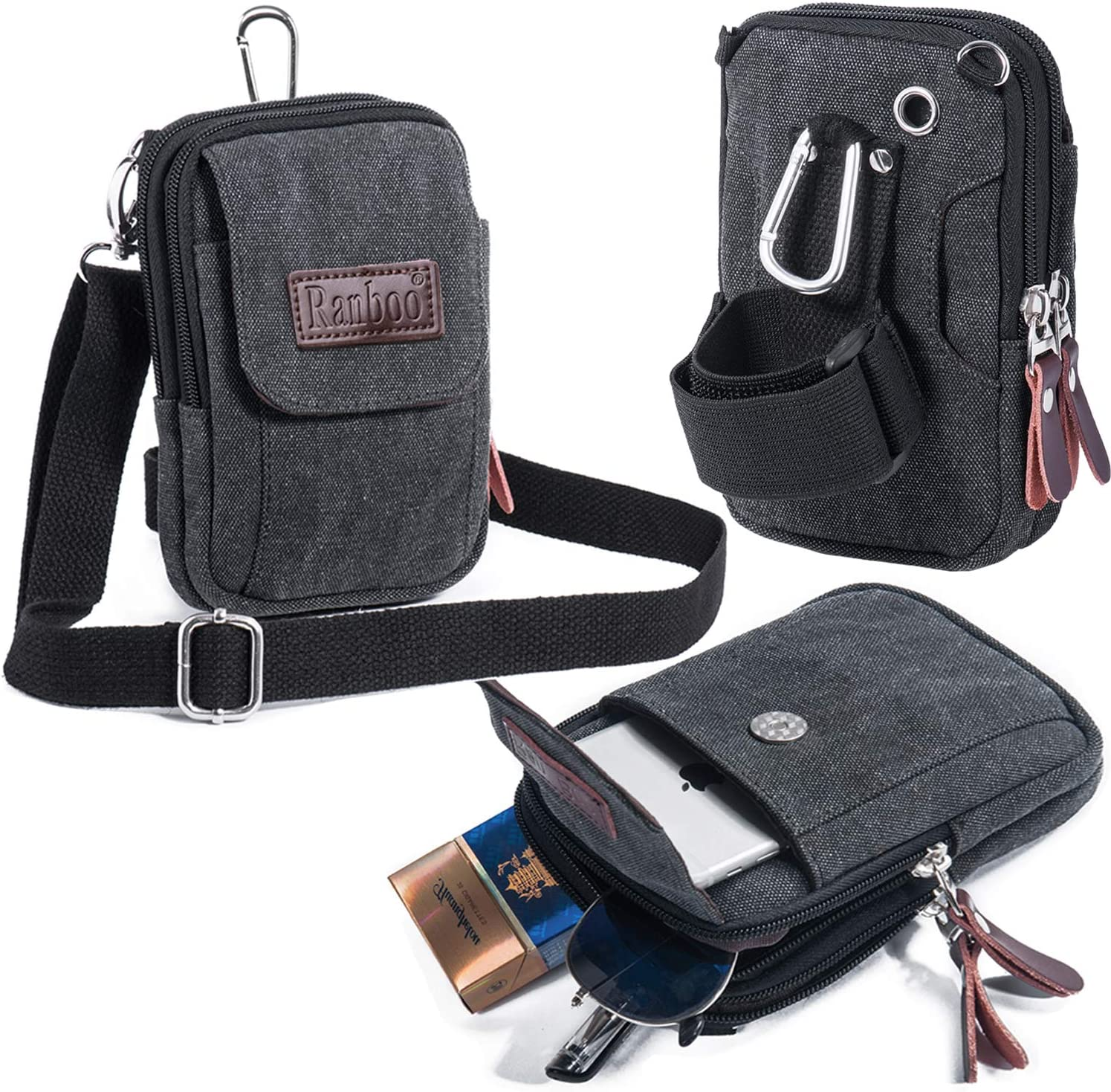 Canvas Shoulder Bag Belt Clip Loop Cell Phone Pouch Compatible for iPhone Xs Max XS XR 7 8 Plus Holster Case Note 9 8 Zipper Pocket Men Travel Wallet Waist Bag Army Gray Ranboo Crossbody Phone Purse