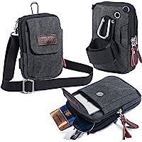 Ranboo Mens Small Cellphone Crossbody Shoulder Bag, Canvas Mini Travel Satchel Waist Belt Bag, Multifunction Carrying…