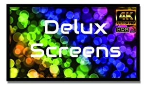 """Delux Screens 135 inch 4K/8K Ultra HDR Projector Screen - Active 3D Ready - 6 Piece Fixed Frame - Home Theater Movie Projection Screen - PVC Matte White - Velvet Border (135"""", 16:9)"""