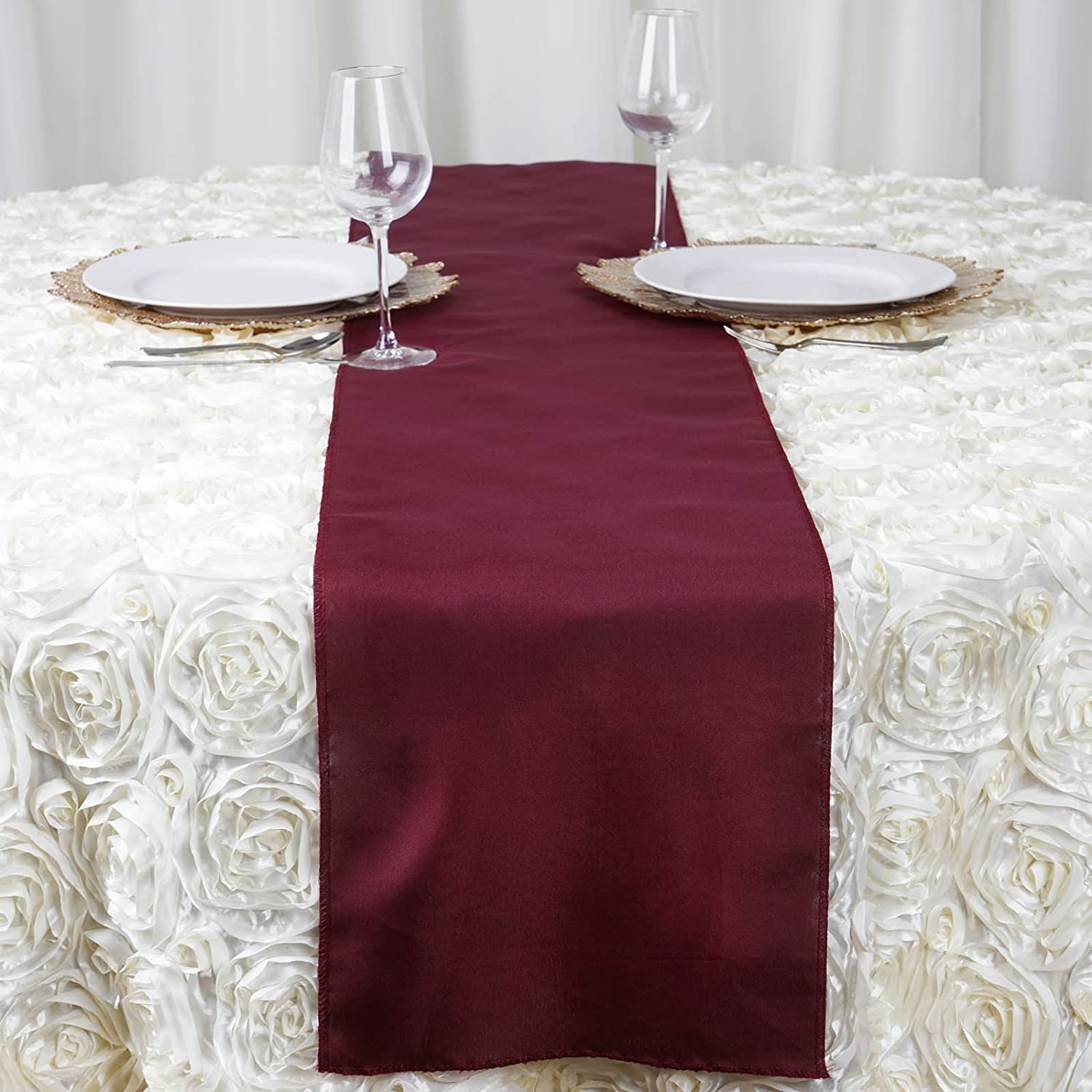 Amazoncom Balsacircle 5 Pcs 12 X 108 Inch Burgundy Polyester Table