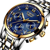 Men Fashion Military Sport Quartz Watch Stainless Steel Band Waterproof 30M with Chronograph and Calendar Fashion Dress Watch for Men