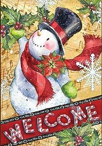 Toland Home Garden Candy Cane Snowman 12.5 x 18 Inch Decorative Winter Welcome Holiday Garden Flag
