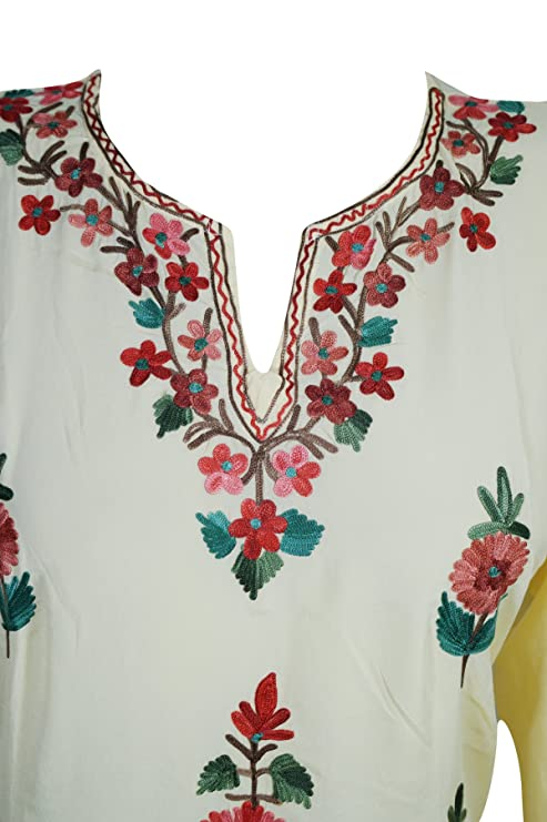 Womans Aasha Tunic Kurta Dress Silk Fine Hand Embroidered Dresses Side  Slit: Amazon.co.uk: Clothing