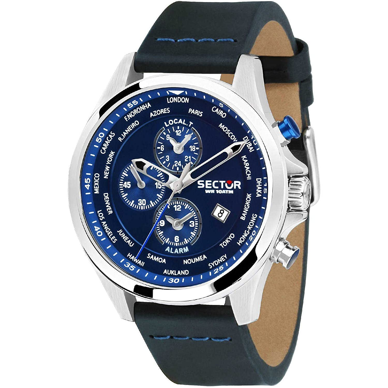 Reloj Sector 180 R3251180023 alarma de piel Hora azul del ...