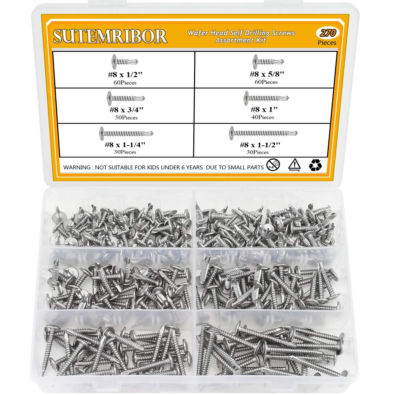 Sutemribor 410 Stainless Steel Self Drilling Screws Set (#8 Wafer Head) by Sutemribor (Image #1)