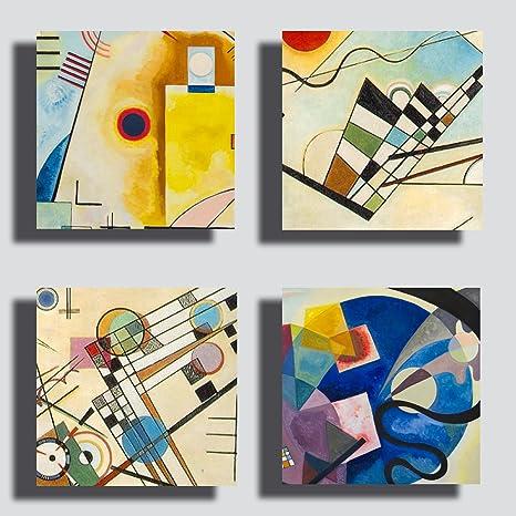 Quadri Moderni KANDINSKY 4 pezzi pannelli cm 40x40 cad. giallo blu rosso  Stampa su Tela CANVAS Arredamento XXL Arredo soggiorno salotto camera da ...