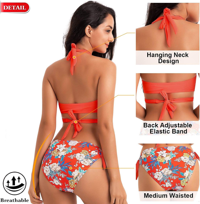 WIN.MAX Bikini Donna,Brasiliana Donna Bikini,Costume da Bagno,Due Pezzi Push Up Imbottito Costumi Halter Bikini,Costumi da Mare Donna,Sexy Retro Spiaggia Benda Beachwear Swimwear