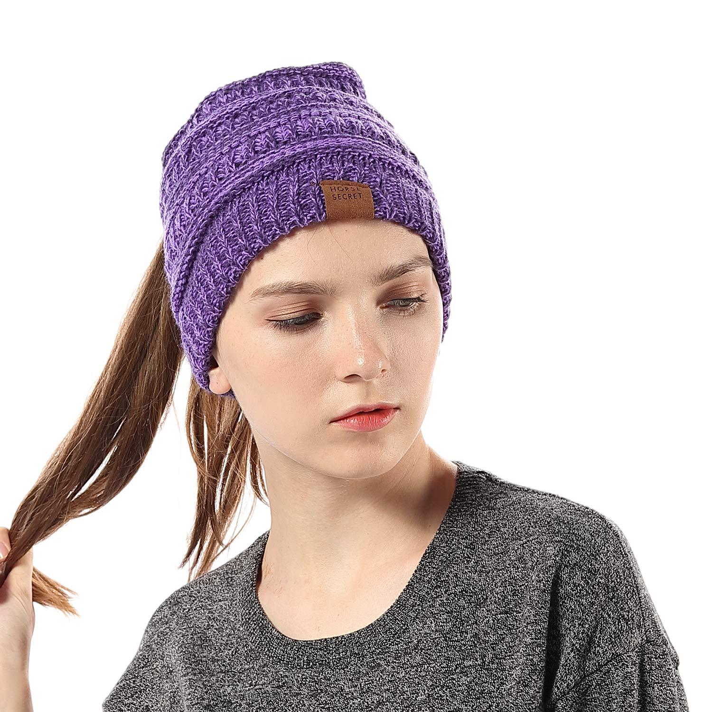 INFLATION Ponytail Beanie High Bun Hats Women/Girls Soft Winter Christmas