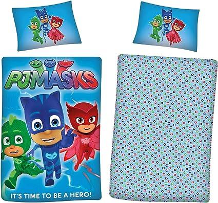 PJ Masks - Juego de ropa de cama para niños, diseño de superhéroe, reversible, 2 en 1