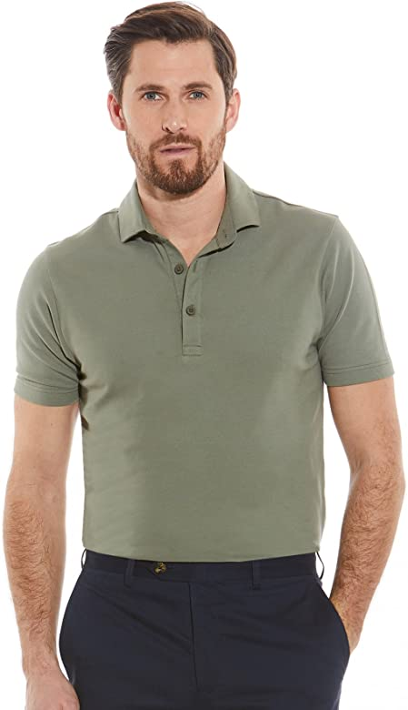 Savile Row Mens Khaki Cotton Pique Slim Fit Polo Shirt L: Amazon ...