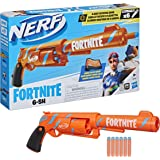 NERF Fortnite 6-SH Dart Blaster -- Camo Pulse Wrap, Hammer Action Priming, 6-Dart Rotating Drum, Includes 6 Official Elite Da