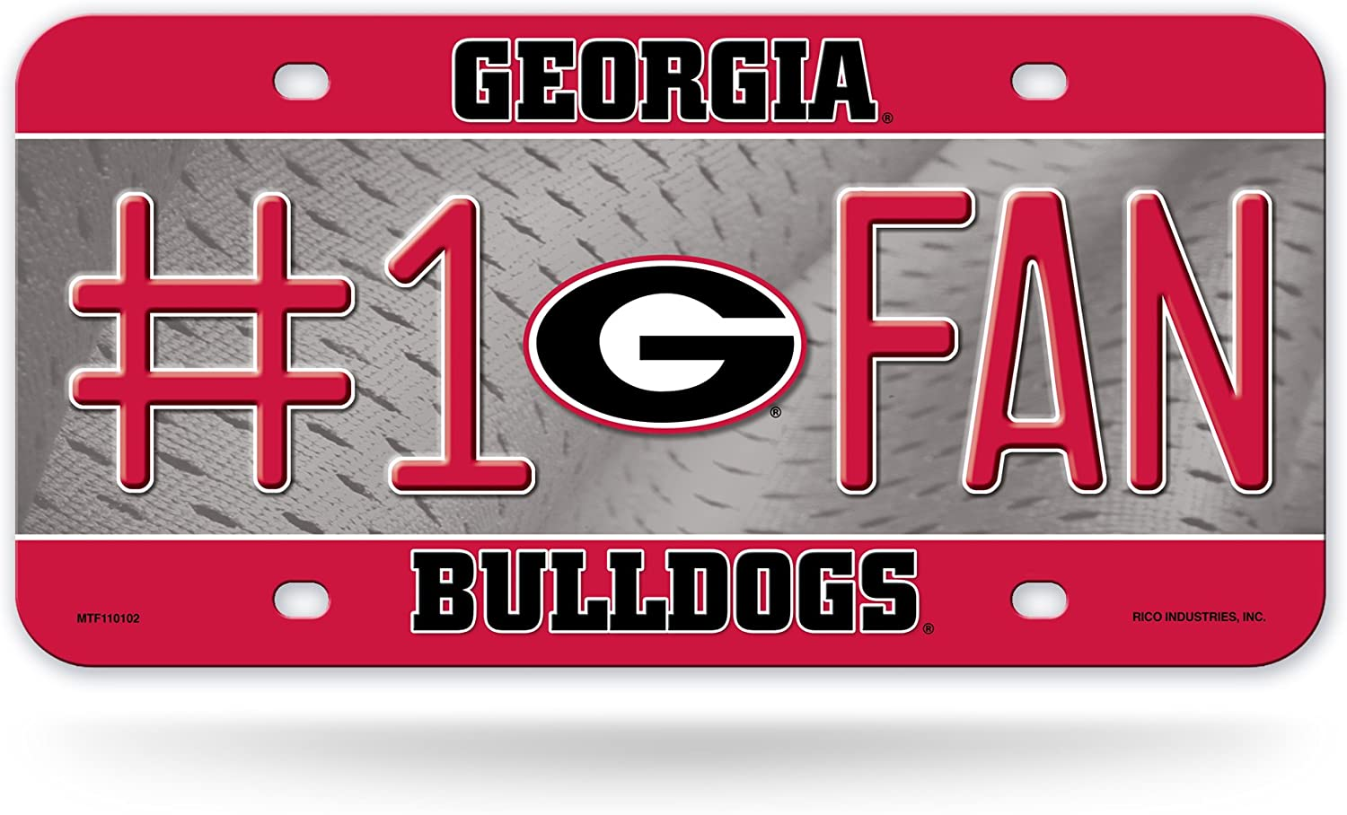 NCAA Rico Industries#1 Fan Metal License Plate Tag, Georgia Bulldogs