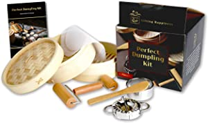 AUCG - Dumpling Maker Cookware Sets - Bamboo Steamer Basket With Dumpling Mold Set And Cutter - Kitchen gifts - Best Gift Ideas For Women - Cooking Gifts For Men - Perfect with Wonton Wrappers