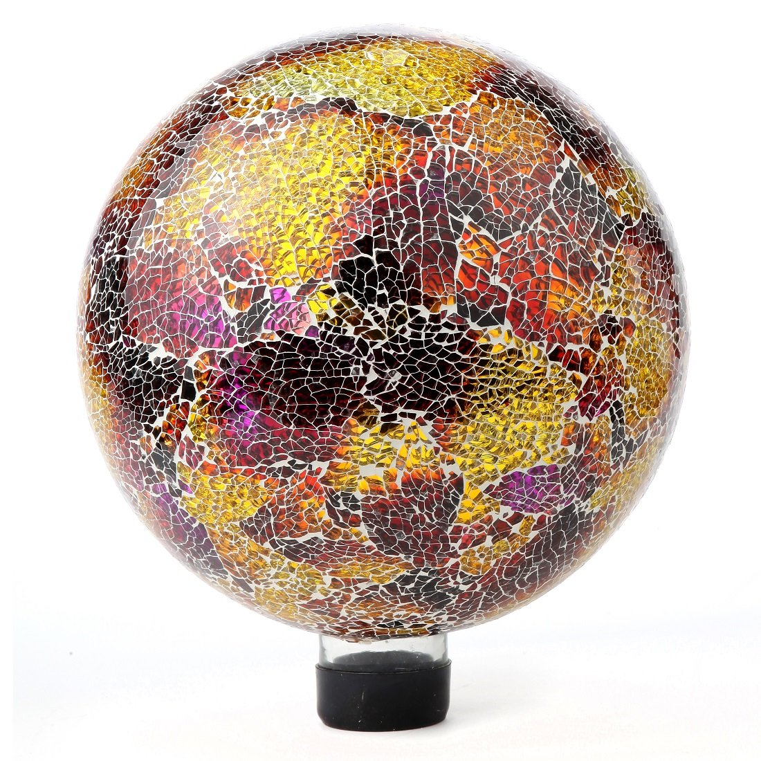Lily's Home Colorful Mosaic Glass Gazing Ball, Designed with a Stunning Holographic Crackle Mosaic Pattern to Bring Color and Reflection to Any Home and Garden, Purple and Gold (10'' Diameter)