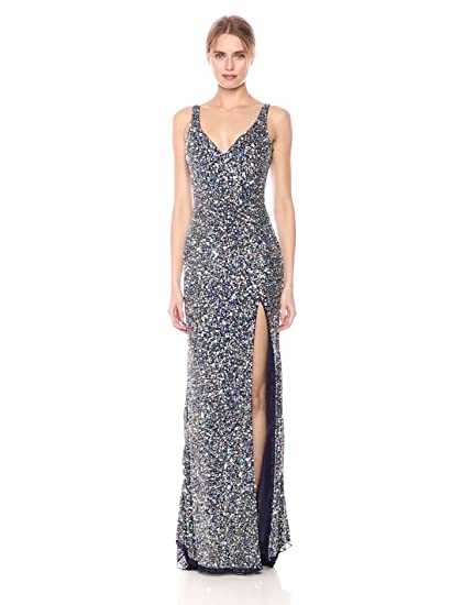 797bcf5bf73 Mac Duggal Women s Double V-Neck Sequin Slit Gown at Amazon Women s  Clothing store