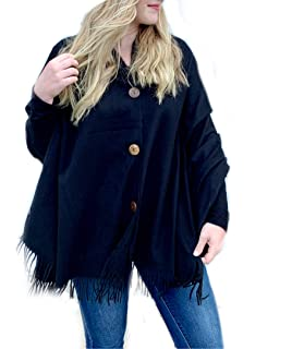 Womens Vintage Plaid Knitted Tassel Poncho Shawl Cape ...