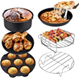 Ultrean Air Fryer Accessories, Set of 6 Fit All 5.8Qt, 6Qt Air Fryers, BPA Free, Non-Stick, Dishwasher Safe, XL