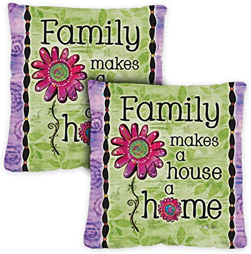 Toland Home Garden 721203 Family Home 18 x 18 Inch Indoor Outdoor, Pillow with Insert 2-Pack