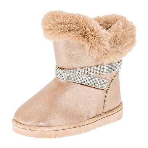 frische Stile Modern und elegant in der Mode überlegene Leistung Fashionteam24 Gefütterte Mädchen Stiefel Stiefeletten Winter Schuhe mit  Strass und Fell