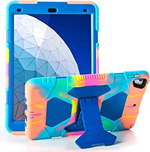 """ACEGUARDER iPad Air 10.5"""" 2019/iPad Pro 10.5 2017 Case, Ultra Protective Rugged Cover with Kickstand for Kids Shockproof Impact Resistant - Icecream/Blue"""