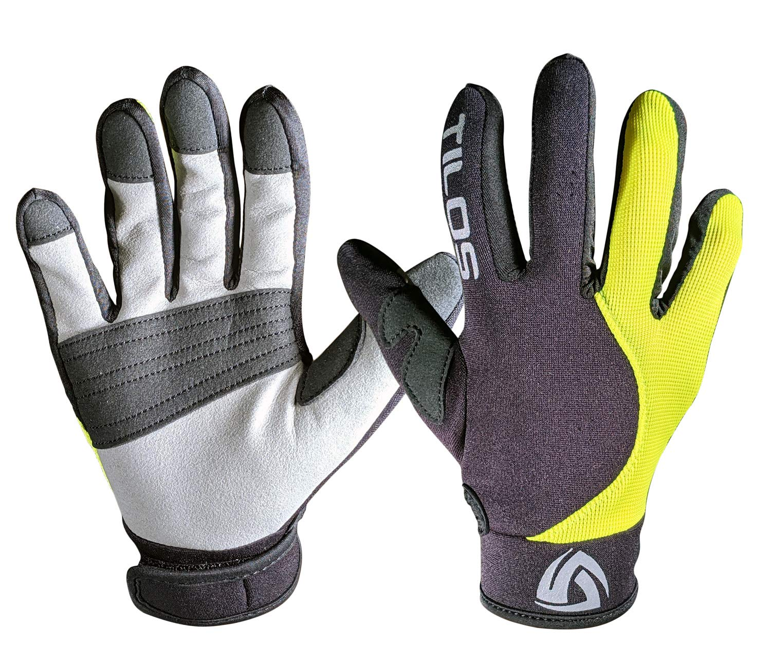 Tilos 1.5mm Tropical Dive Gloves Stretchy Mesh with Amara Leather for Snorkeling, Kayaking, Water Jet Skiing, Sailing, Scuba Diving, Rafting (Yellow, L) by Tilos