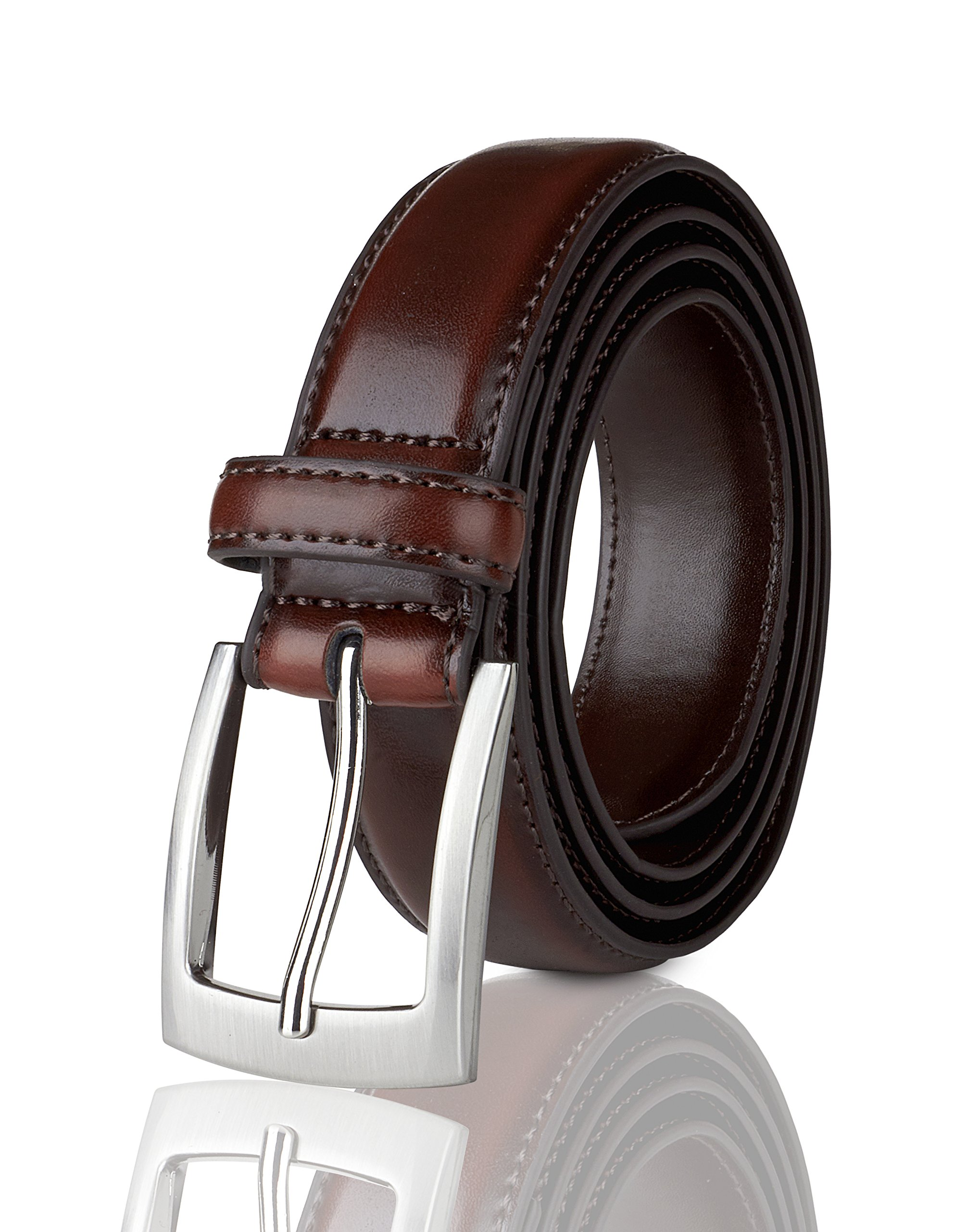 Belts for Men Mens Belt Buckle Genuine Leather Stitched Uniform Dress Belt - Wine - Size 34 (Waist 32)