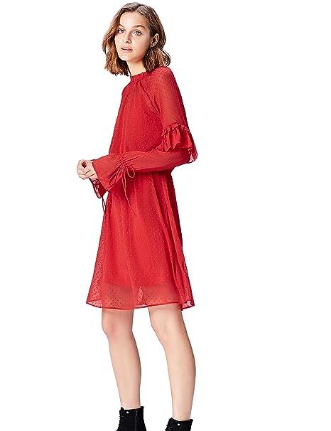 FIND MDR 40471 vestidos mujer, Rojo (Rot), 36 (Talla del Fabricante