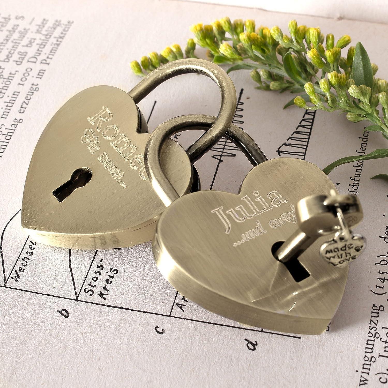 LIEBESSCHLOSS-FACTORY/™ Cadenas damour amoureux Or en forme de c/œur avec gravure personnalis/ée coffret cadeau GRATUIT et beaucoup plus/… concevez-vous maintenant!