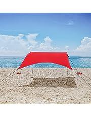 MENCOM Toldo portátil para Playa con Anclajes de Bolsas de Arena Ligero 100% Lycra SunShelter