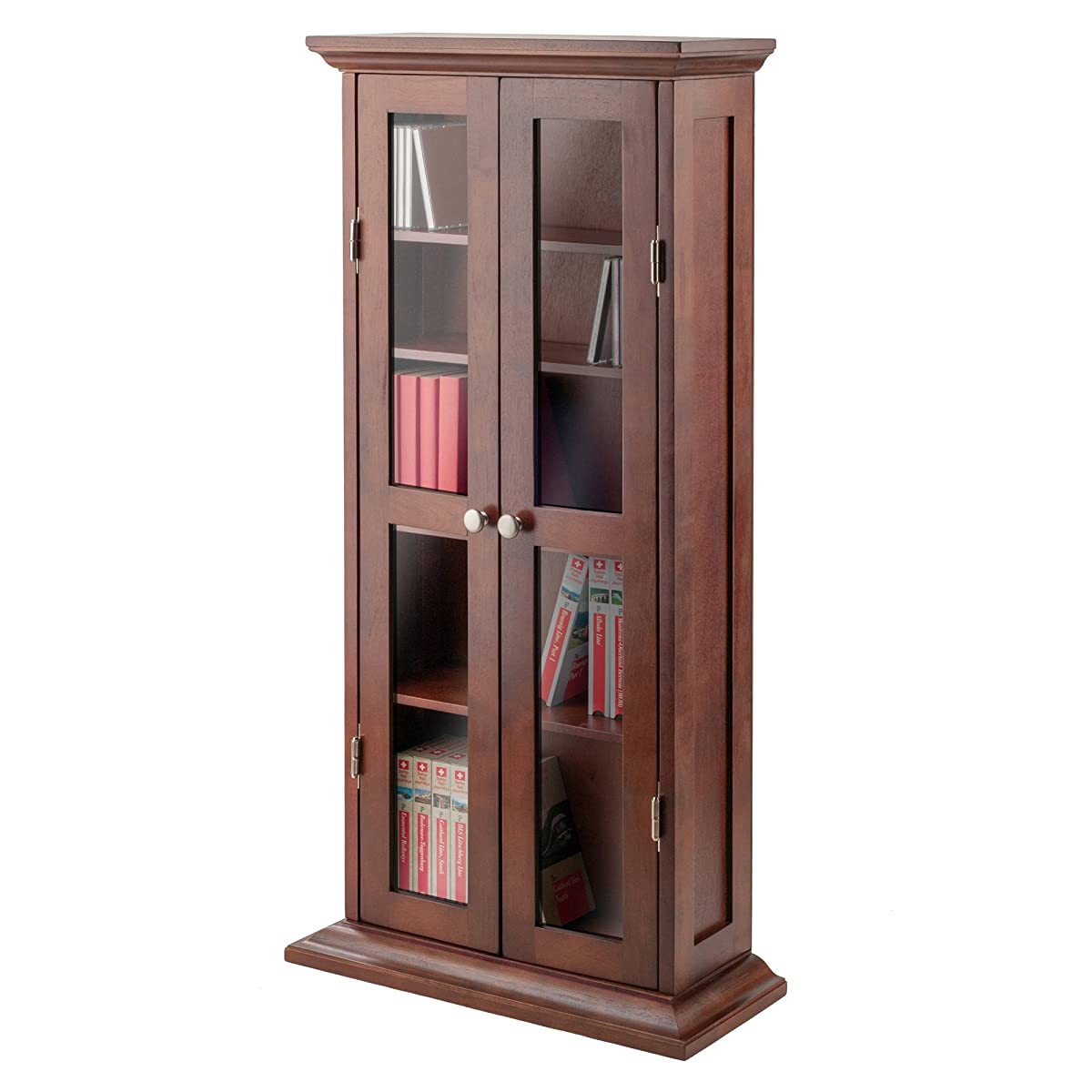 Winsome Wood CD/DVD Cabinet with Glass Doors, Antique Walnut