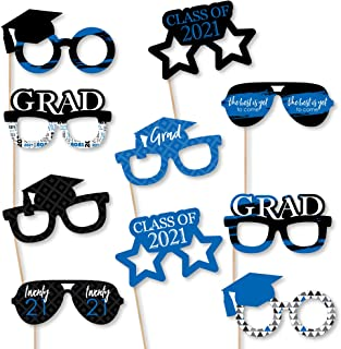 product image for Big Dot of Happiness Blue Grad Glasses - Best is Yet to Come - Royal Blue 2021 Paper Card Stock Graduation Party Photo Booth Props Kit - 10 Count