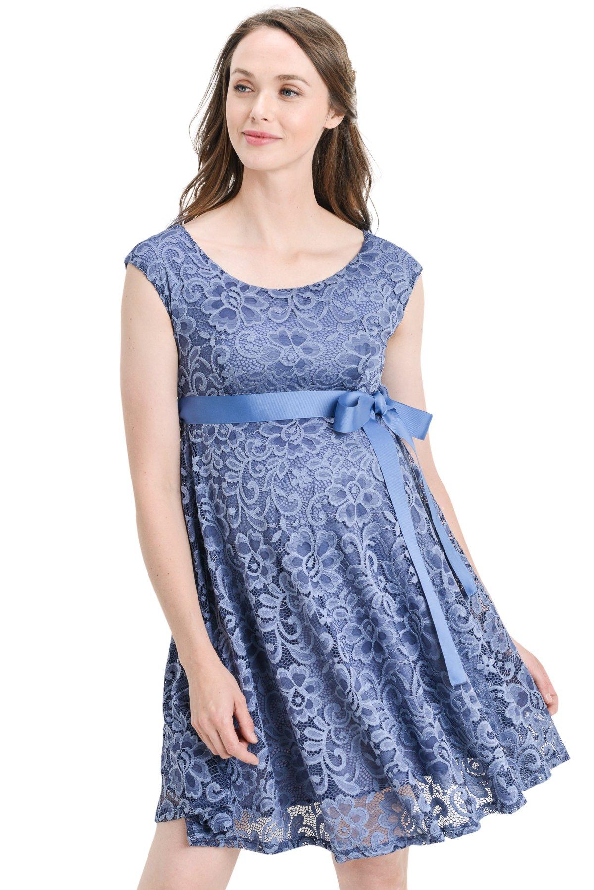 Hello MIZ Floral Lace Baby Shower Party Cocktail Dress with Satin Waist Maternity Dress (Medium, Denim)