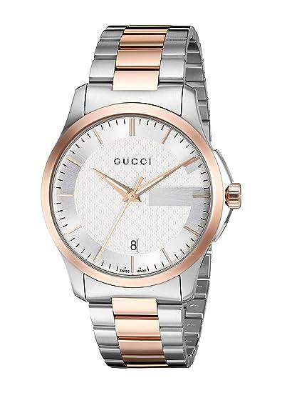 Gucci Swiss Quartz reloj del vestido de los hombres de dos tonos de acero inoxidable (