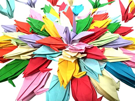 folding DIY Japanese crane mobile string garland baby shower decoration wedding party background home decoration crafts project. 7 inch large size paper crane 100 PCS high quality origami paper crane mixed color
